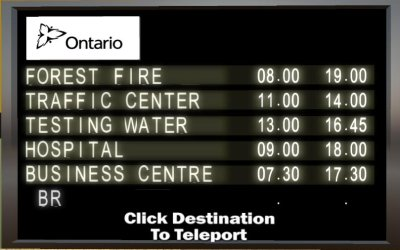 Teleportation options board.